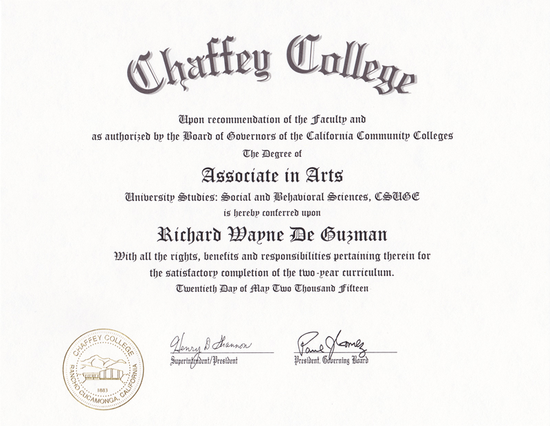 Chaffey College Associate of Science Degree in Computer Information Systems