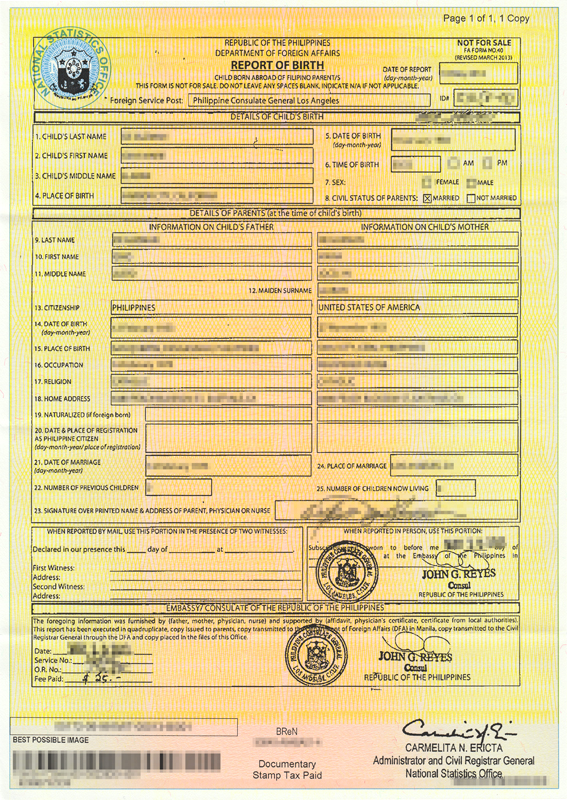 NSO (PSA) Report of Birth / Birth Certificate